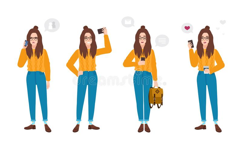 Young woman dressed in trendy clothes with smartphone. Hipster girl with mobile phone - texting, talking, taking selfie stock illustration