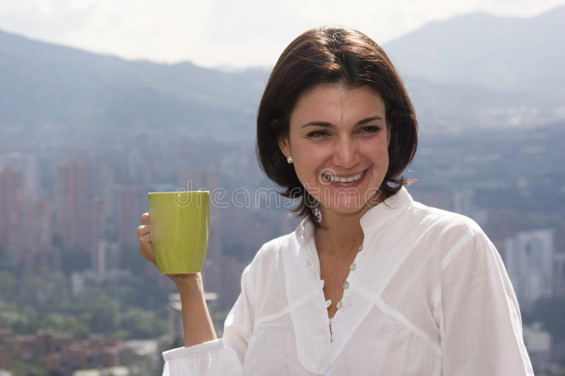 Download Young woman drinking cafe stock photo. Image of addiction - 13366550