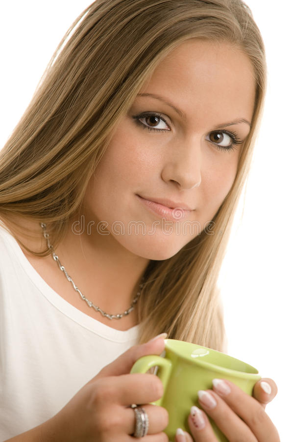 Young Woman Drinking Coffe Stock Photo