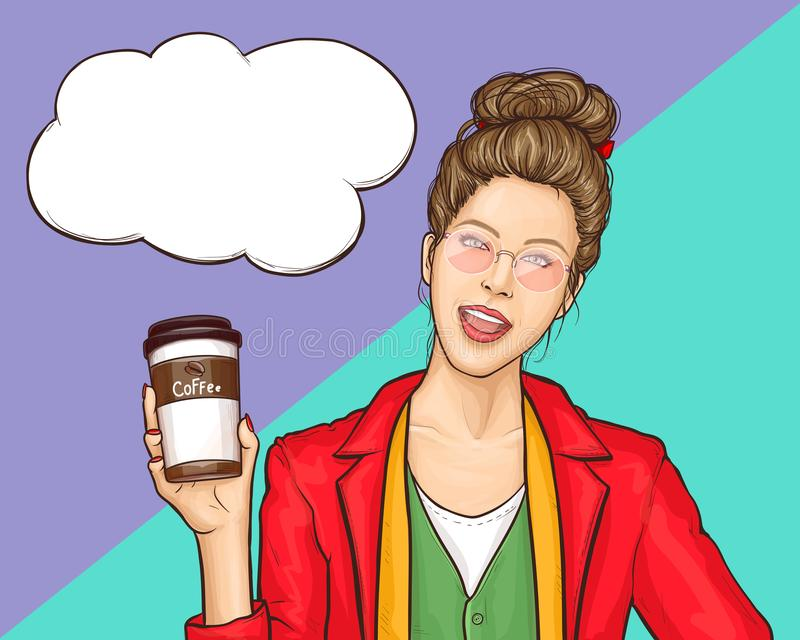 Young woman drinking coffee cartoon vector royalty free illustration