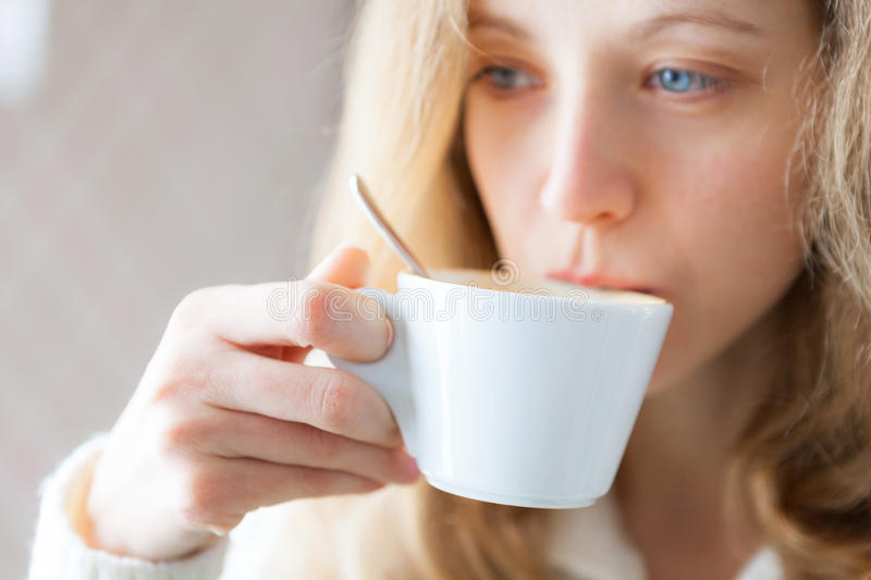 Download Young Woman Drinking Coffee. Cup Of Hot Beverage Stock Image - Image: 29987041