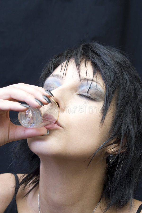 Young Woman Drinking A Shot Royalty Free Stock Photo