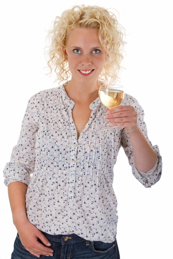 Young woman drinking wine royalty free stock image