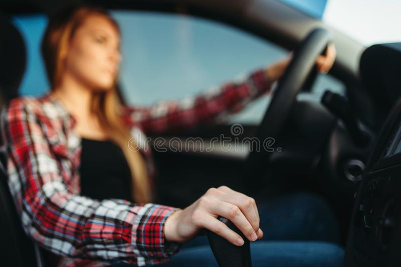 Young woman drives a car royalty free stock photo