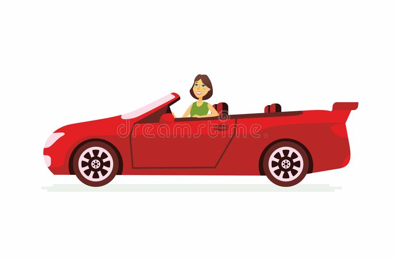 Young woman driving a car - cartoon people character isolated illustration. On white background. An image of a happy smiling person driving a red open-top vector illustration