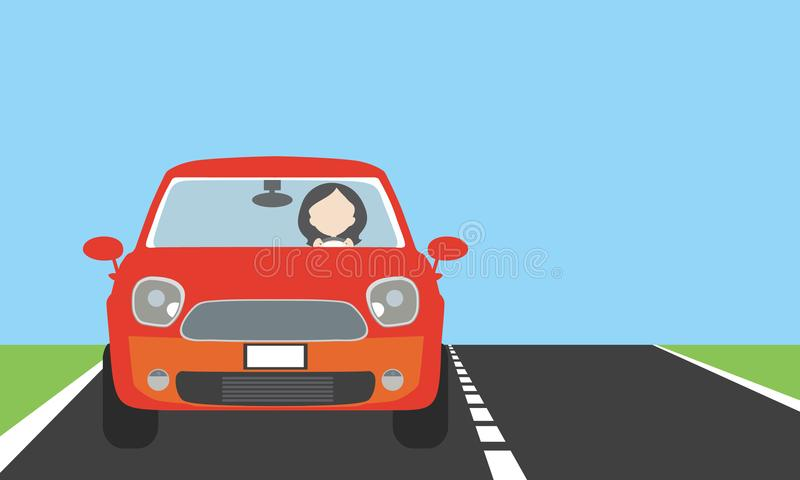 Young woman driving a car on a road or highway with lawn, blue s. Young woman driving a red car on a road or highway with lawn, blue sky and space for text vector illustration