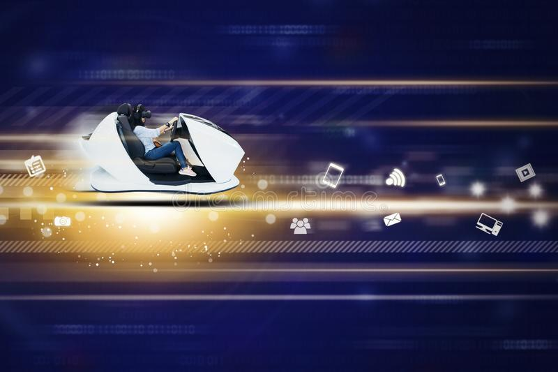 Young woman driving a futuristic car in cyberspace royalty free stock image