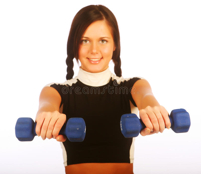 Young Woman With Dumbbells Stock Images