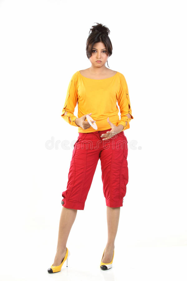 Download Young woman with DVD stock image. Image of office, data - 15442635