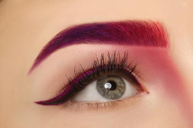 Young woman with dyed eyebrow,. Closeup royalty free stock photos