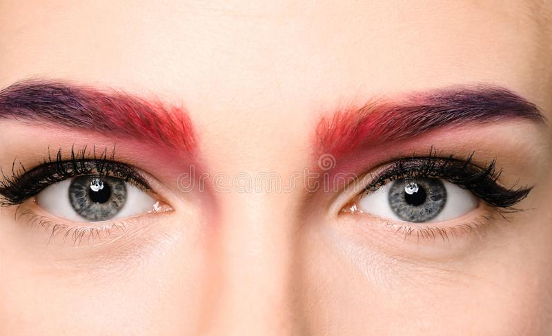 Young woman with dyed eyebrows on white background, stock photography