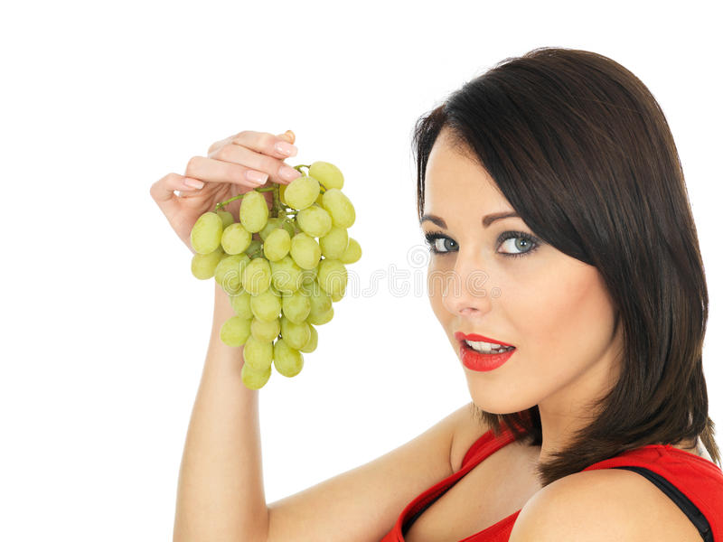 Young Woman With Green Grapes Stock Photo Image Of Grape