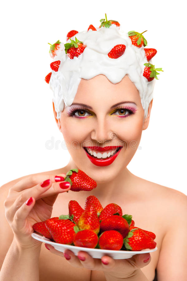 Download Young Woman Eating Red Ripe Stock Image - Image: 28770379