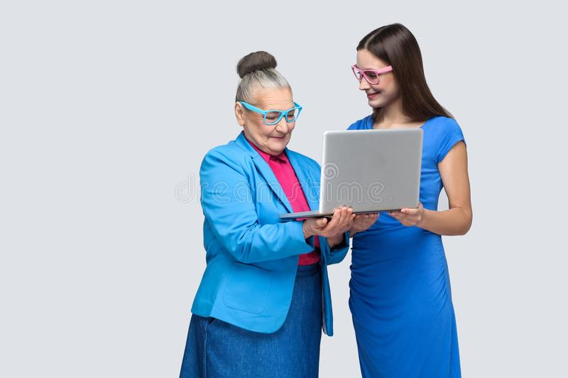 Young woman education ol woman for work in social networking stock images