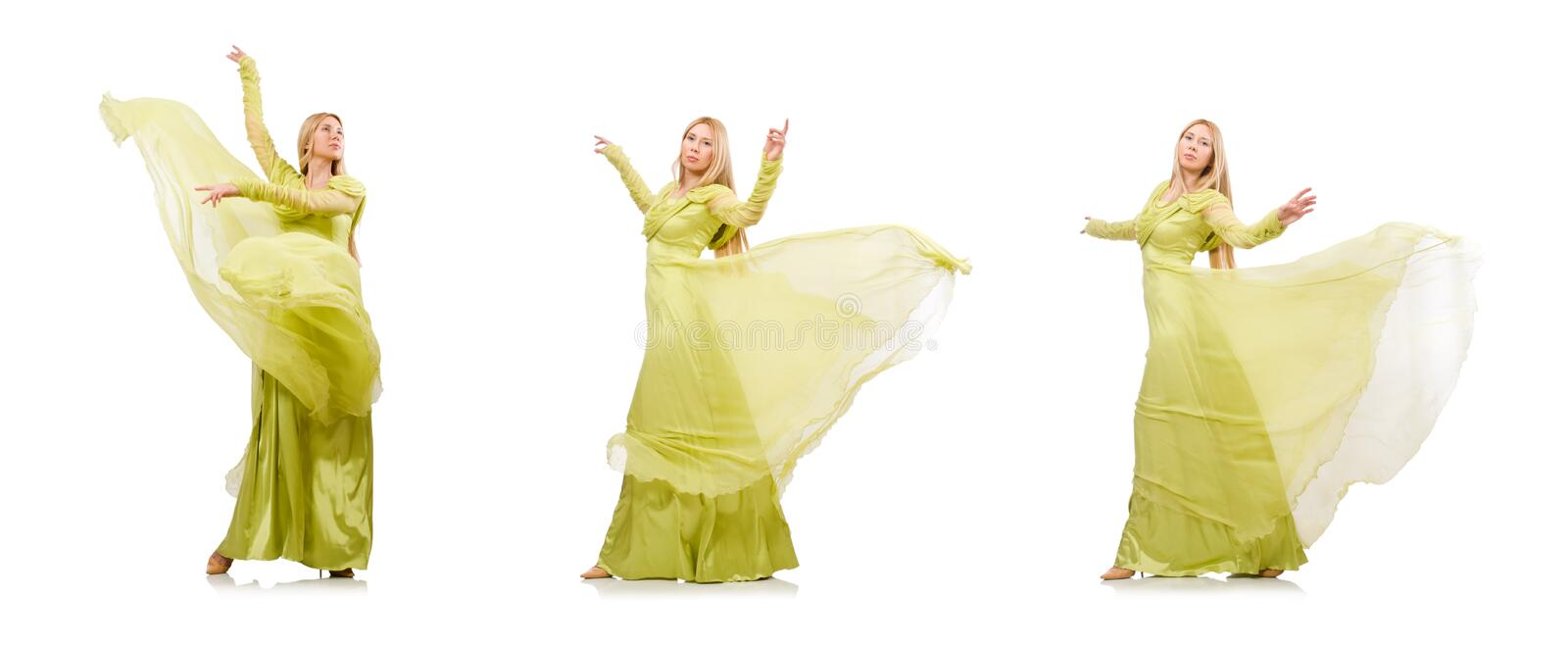 Young woman in elegant long green dress isolated on white royalty free stock image