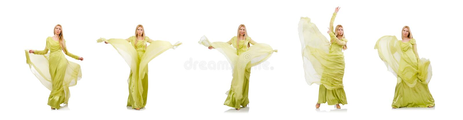 Young woman in elegant long green dress isolated on white stock photography