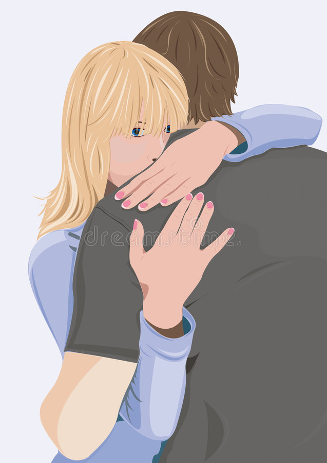 Download Young Woman Embraces The Man Stock Vector - Image: 8747652
