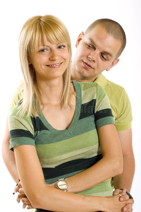 Young woman embracing her boyfriend stock photos