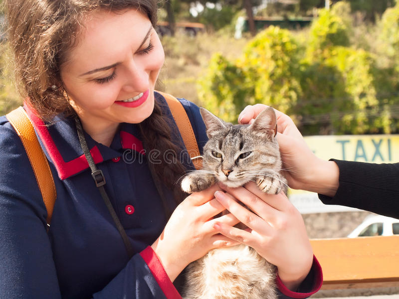 Young woman embracing and playing with fluffy domestic cat stock image