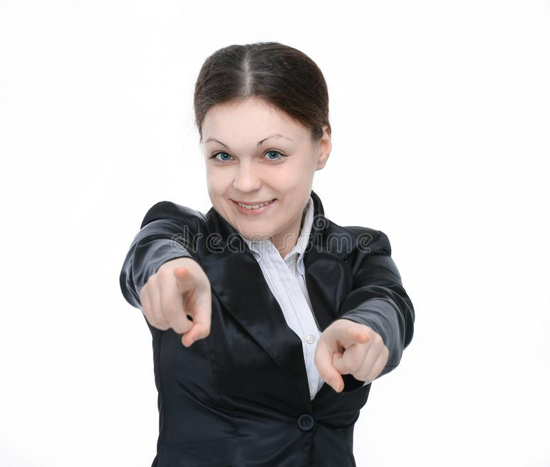 Young woman employee pointing his arms forward stock photography