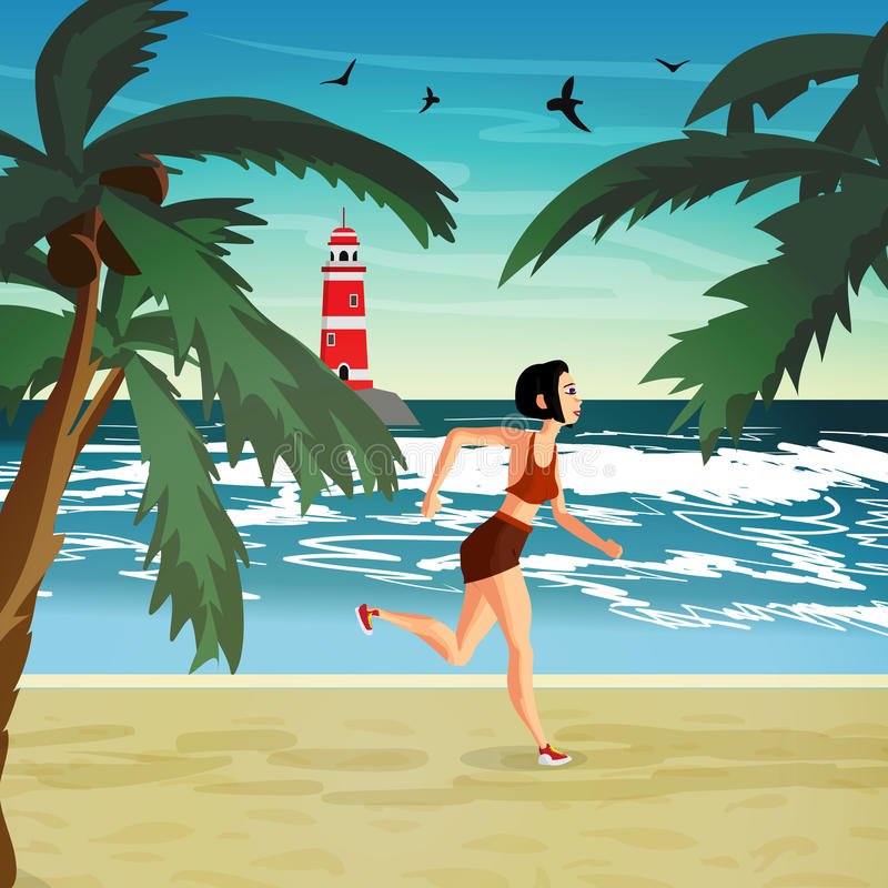 Young woman is engaged in the beach sports. The girl is running stock illustration