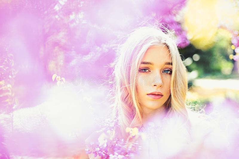 Young woman enjoy flowers in garden, defocused, close up. Girl on dreamy face, tender blonde near violet flowers of. Judas tree, nature background. Lady in park stock photography
