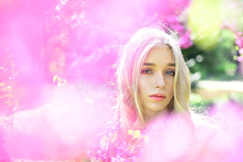 Young woman enjoy flowers in garden, defocused, close up. Girl on dreamy face, tender blonde near violet flowers of. Judas tree, nature background. Lady in park stock image