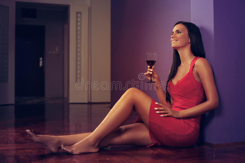 Download Young woman enjoy wine stock image. Image of attractive - 36342855