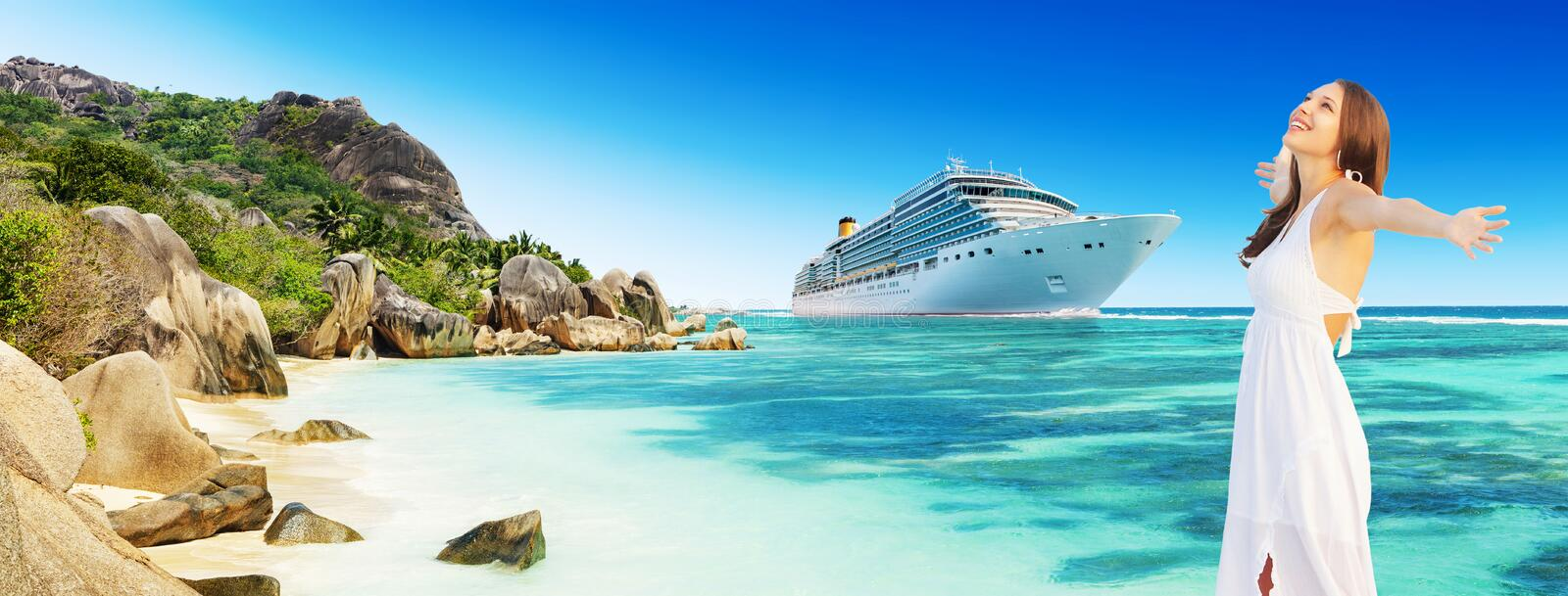 Young woman enjoying beach and cruise holidays royalty free stock images