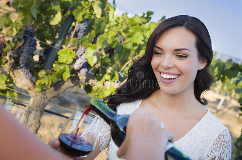 Download Young Woman Enjoying Glass Of Wine In Vineyard With Friends Stock Photo - Image: 32940568