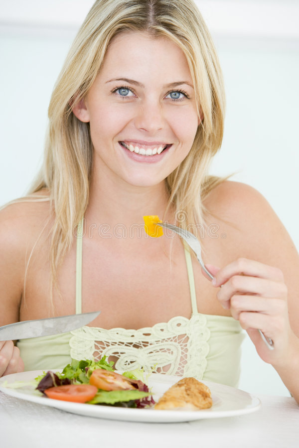 Young Woman Enjoying Healthy Meal Stock Photos