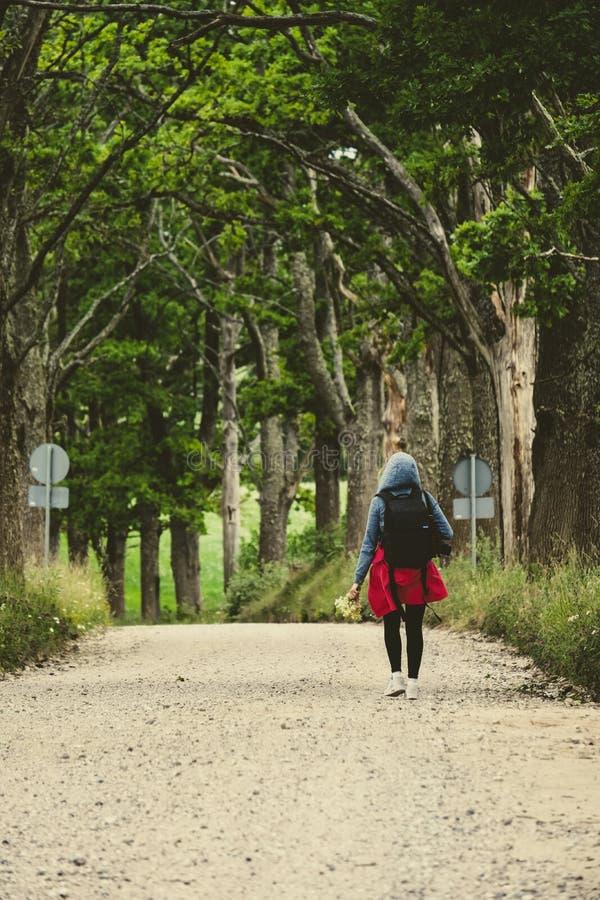 young woman enjoying nature trails stock photos