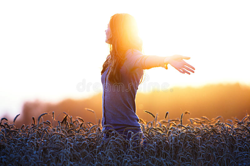 Young woman enjoying sunlight with raised arms in straw field royalty free stock photography