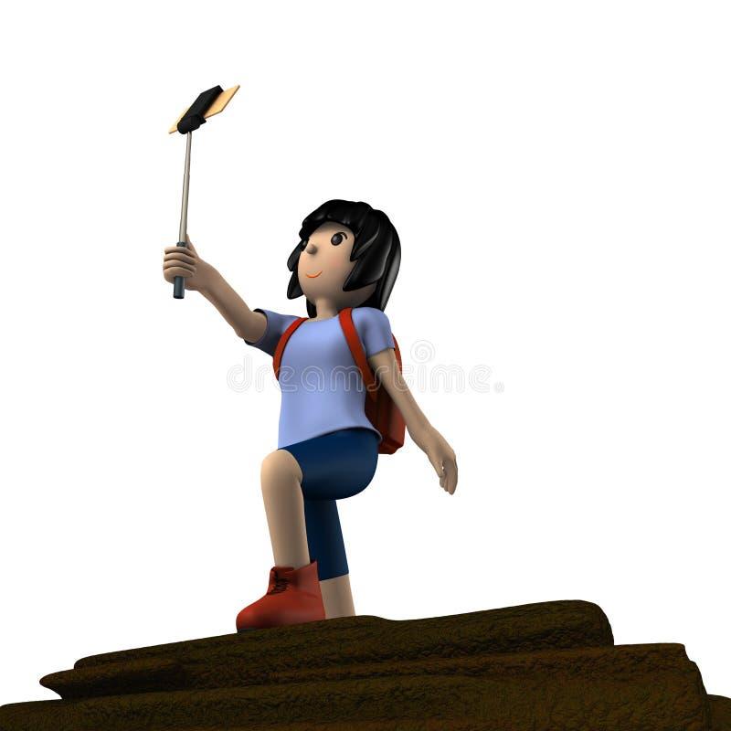 Young woman enjoying trekking. She is taking a selfie. stock illustration