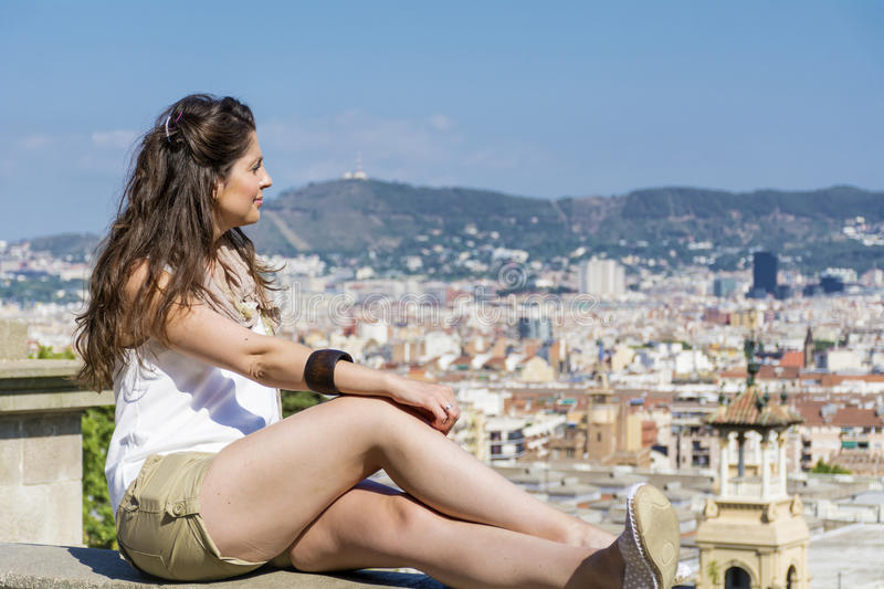 Young woman enjoying the view in Barcelona,Spain stock photos