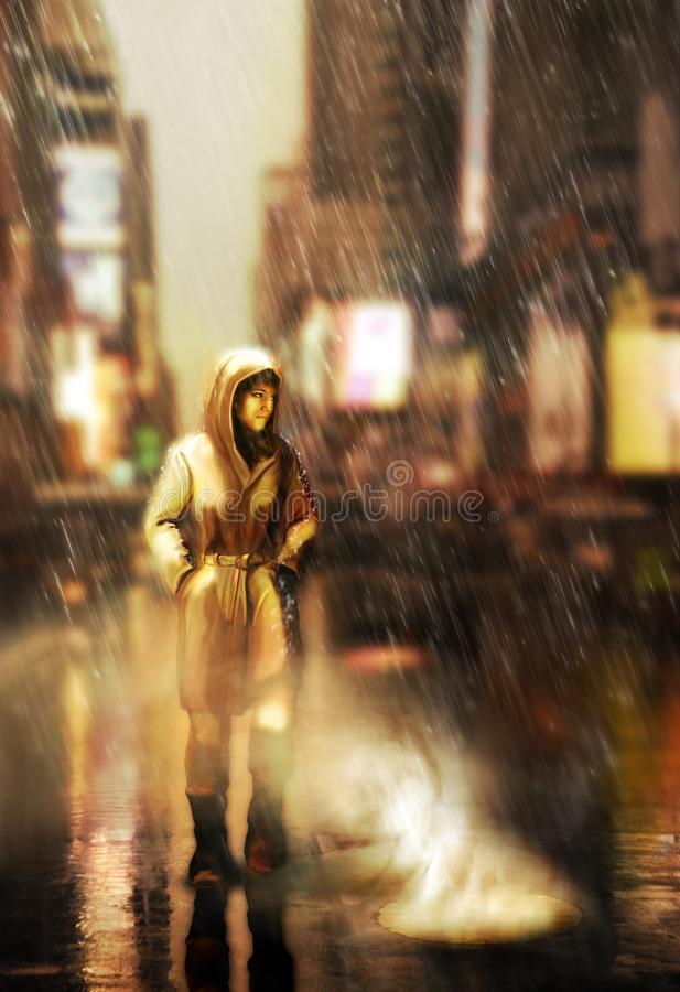 Walking by the city streets under the rain royalty free illustration