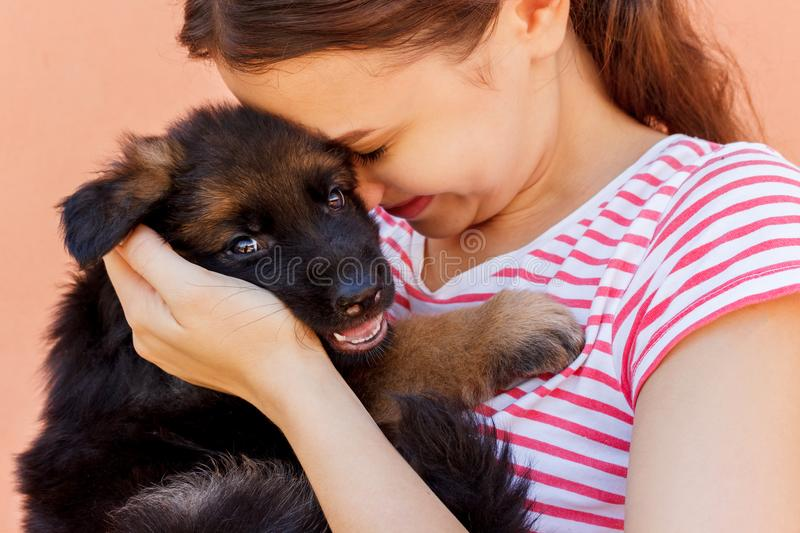 Young woman enjoys hugging a small cute puppy stock image