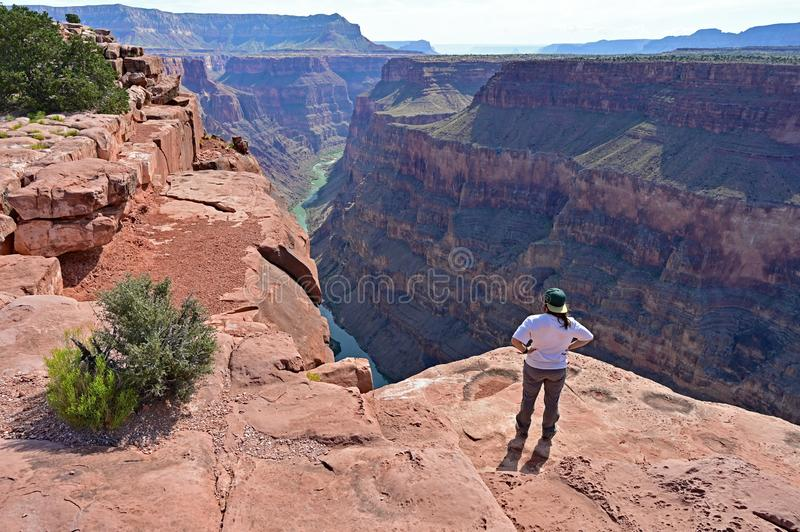 Young woman at Toroweap Overlook in the Grand Canyon. Young woman enjoys the spectacular view from Toroweap Overlook in Grand Canyon National Park, Arizona royalty free stock photo