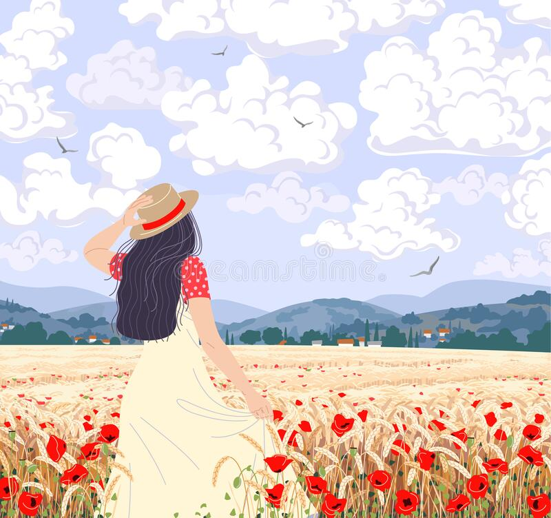 Free Young Woman Enjoys The Field Wheat And Poppies Scenery Royalty Free Stock Images - 207947469