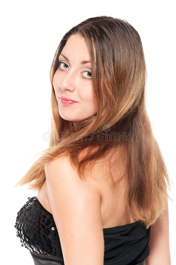 Young woman in evening dress royalty free stock images