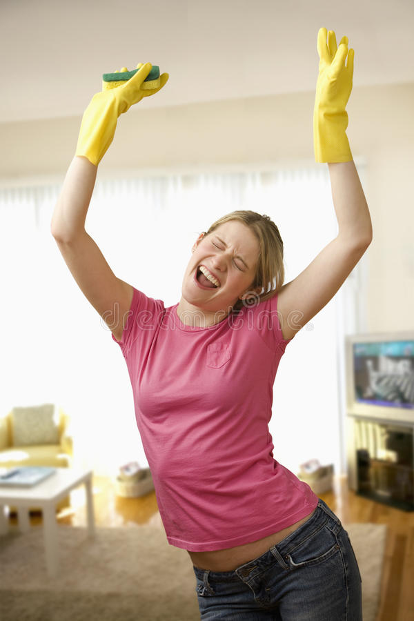 Young Woman Excited About Cleaning stock photos
