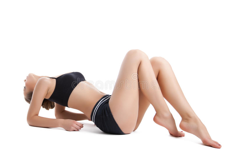 Young woman exercise sport complex stock images
