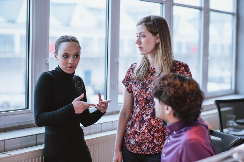 Young woman explaining business strategy to colleagues. Young women explaining business strategy to colleagues. Multiracial businesspeople discussing work in stock photos