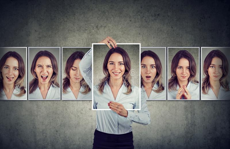 Young woman expressing different emotions royalty free stock photography