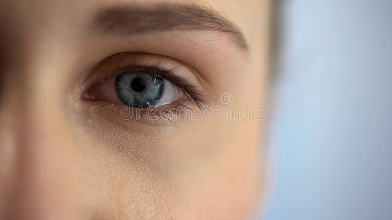 Young woman eye full of tears, bullying and violence concept, problems, close up royalty free stock image