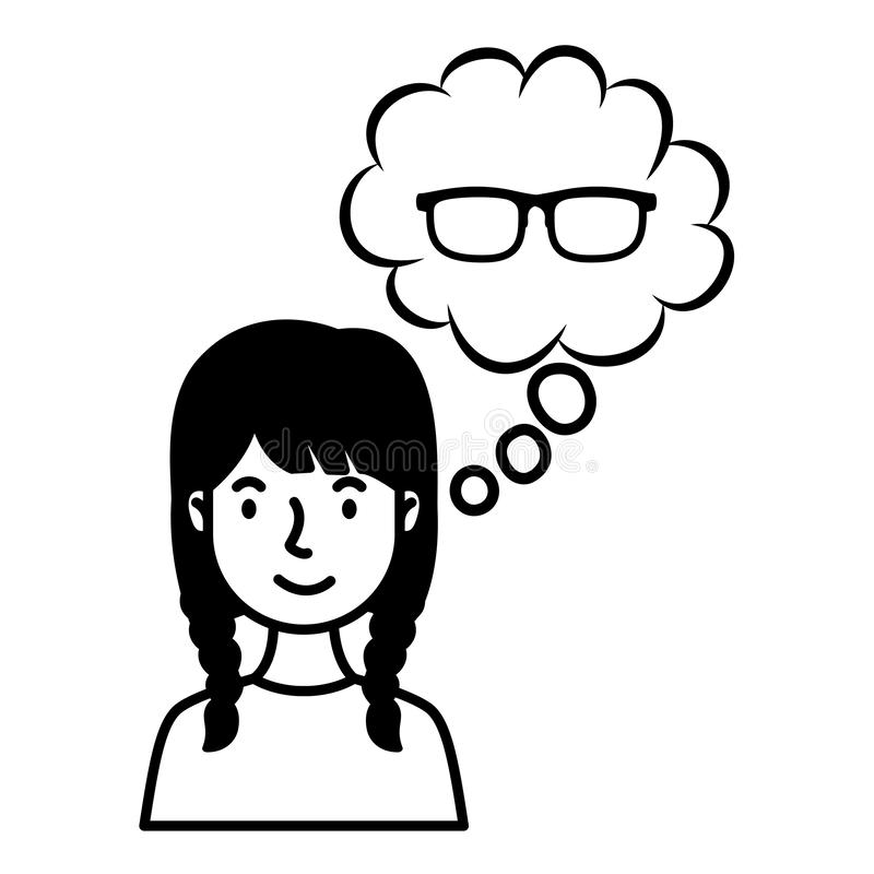 Young woman with eyeglasses in dream cloud royalty free illustration
