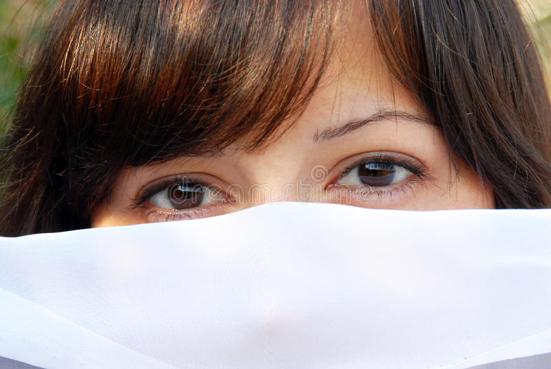 Download Young woman eyes stock photo. Image of looking, hiding - 15893424