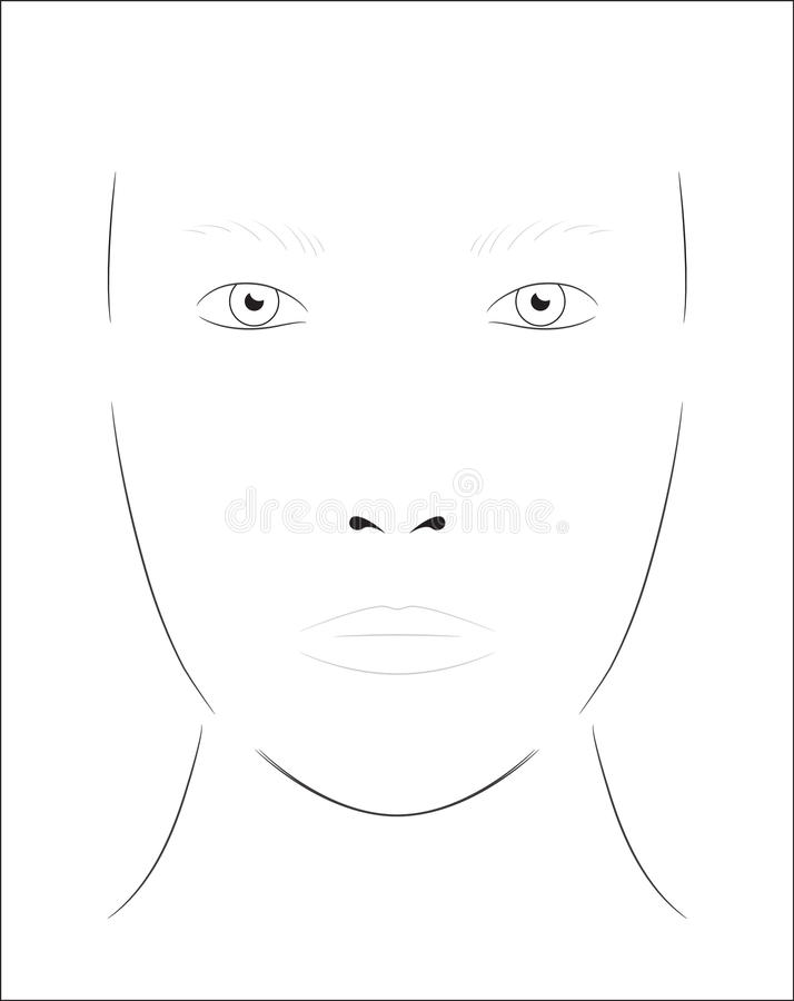 Young Woman. Face Chart Makeup Artist Blank. Template. Stock Vector ...
