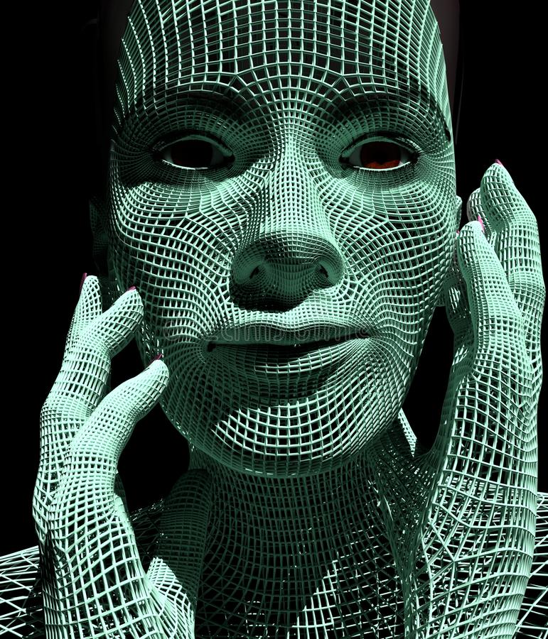 Lady from a 3d Grid. vector illustration