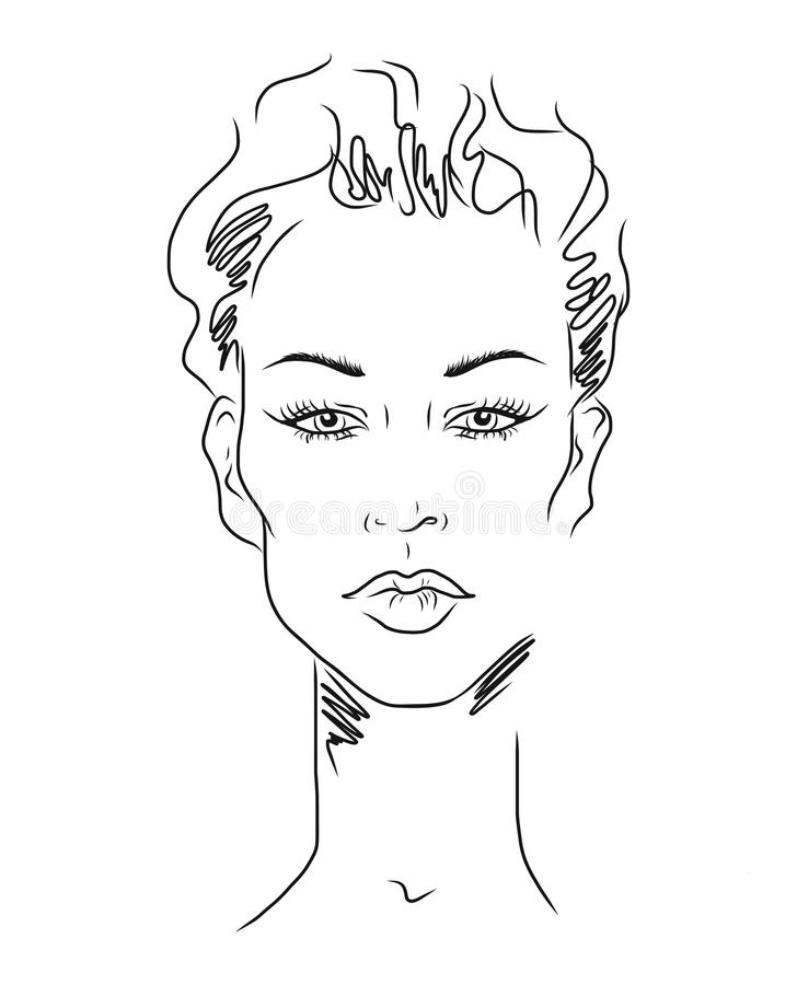 Young woman face, fashion sketch, black and white linear face drawing. Vector illustration, poster, banner, logo vector illustration